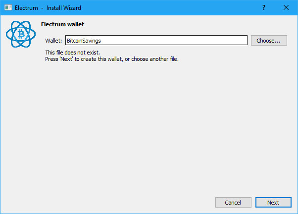 Create a new Electrum Wallet file (Image: Bitcoin Investors UK)