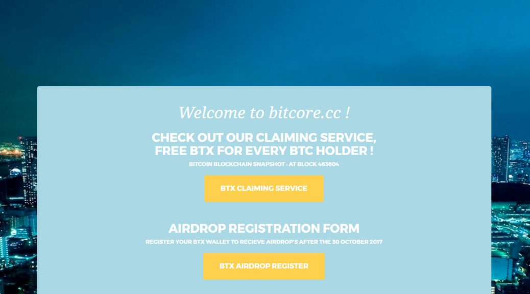 Bitcore Homepage (Image: Bitcoin Investors UK)