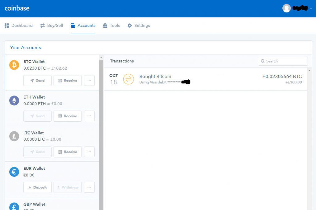 Coinbase Accounts screen (Image: Bitcoin Investors UK)