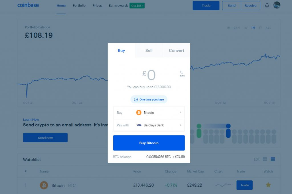 Coinbase Buy/Sell/Convert (Image: Bitcoin Investors UK)