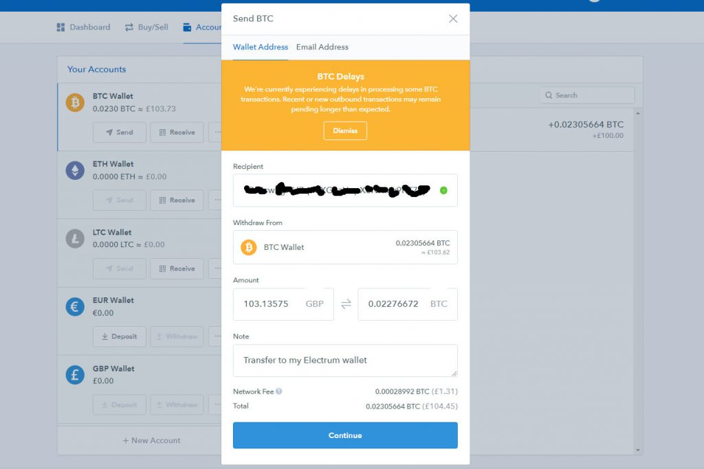 Coinbase Send BTC screen (Image: Bitcoin Investors.co.uk)