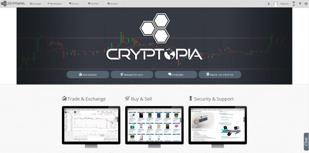Cryptopia Homepage (Image: Bitcoin Investors UK)