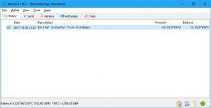 Electrum Transaction Complete (Image: Bitcoin Investors UK)