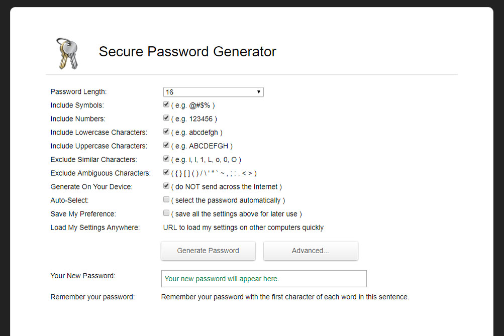 Random Password Generator settings (Image: Bitcoin Investors UK)
