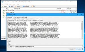 Electrum Export Private Keys screen (Image: BIUK)