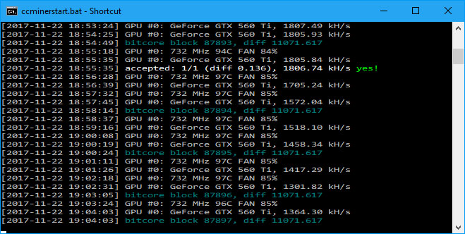 CC Miner Screen - early on (Image: BIUK)