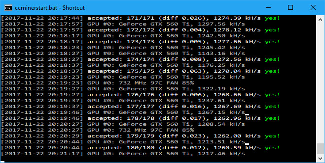 CC Miner Screen - up and running (Image: BIUK)