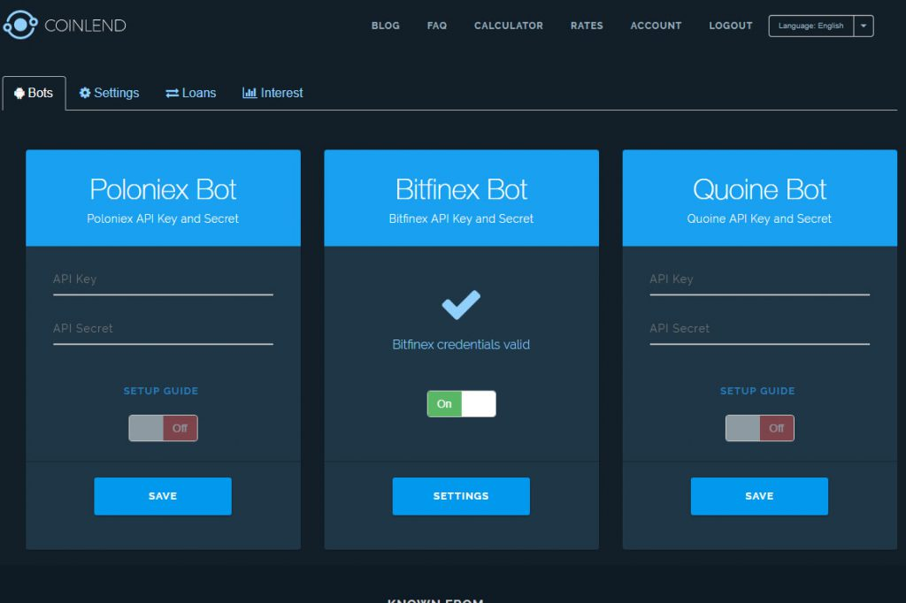 Coinlend Bot screen - Bitfinex On (Image: BIUK)