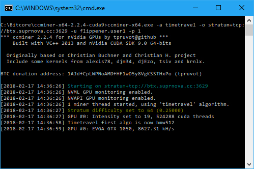 CCMIner starting up on a GTX 1050 GPU (Image: BIUK)