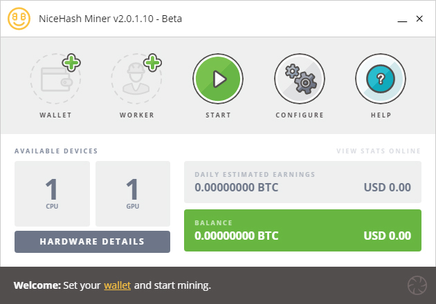 NiceHash Miner ready screen (Image: BIUK)