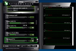 MSI Afterburner showing high graphics card temperatures during mining (Image: BIUK)